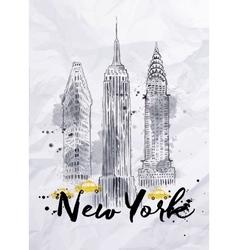 Watercolor New York buildings vector image vector image