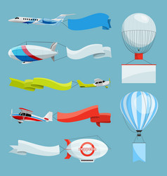 zeppelins and airplanes with empty banners for vector image