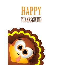 Card for Thanksgiving Day Turkey on white vector image