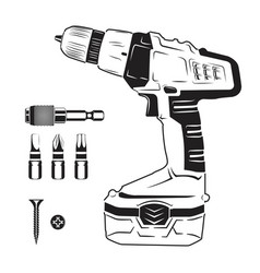 electric screwdriver and bits vector image vector image
