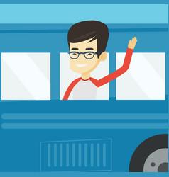 Man waving hand from bus window vector