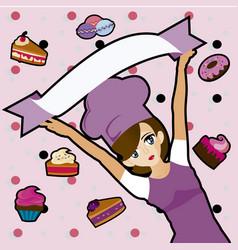 manga chef with desserts vector image