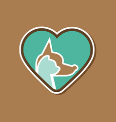 paper sticker on stylish background cat dog heart vector image vector image