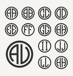 set 1 of templates from two capital letters vector image vector image
