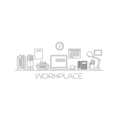 Workplace mono color line vector