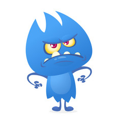 cartoon image of funny blue monster vector image vector image