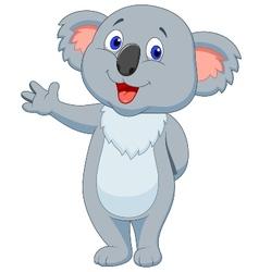 Cute koala cartoon hand waving vector image vector image