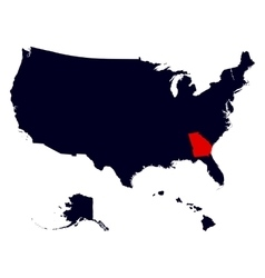 Georgia State in the United States map vector image