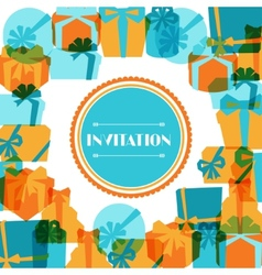 Invitation background or card with colorful gift vector image vector image