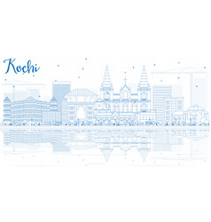 outline kochi skyline with blue buildings and vector image vector image