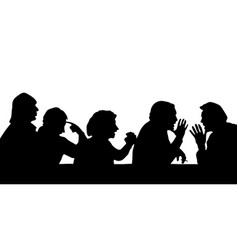 silhouettes of people arguing with the boss vector image vector image