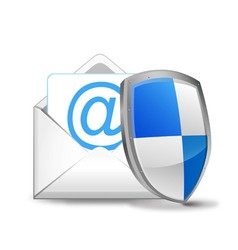 3d mail with security shield vector image vector image