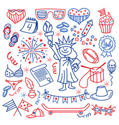 4 july usa independence day icons isolated on vector