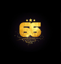 66 number icon design with golden star and glitter vector image