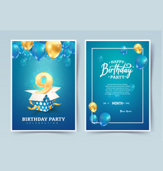 9th years birthday invitation double card vector