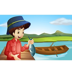 A fisherman with a fish vector