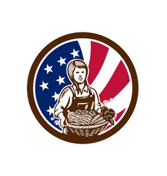 American female organic farmer usa flag icon vector