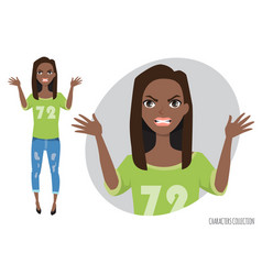 Angry black african american woman in a casual vector