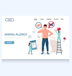 Animal allergy website landing page design vector