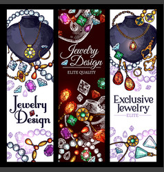Banners of jewelry fashion accessories vector