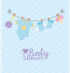 bashower blue hanging clothes pacifier dotted vector image