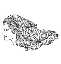 beautiful young girl with long curly hair vector image