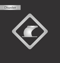 black and white style icon tsunami sign vector image