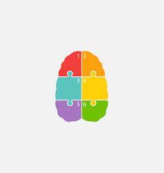 Brain parts in piece puzzle color connections vector