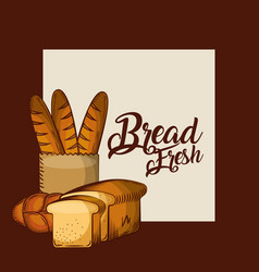 bread fresh baguette in paper bag whole and toasts vector image