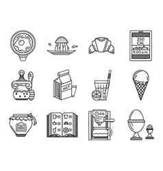 Breakfast line icons set vector image