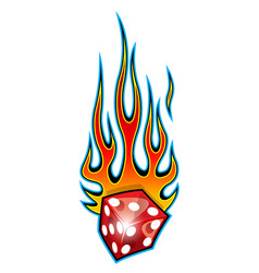 burning dice with classic tribal flames isolated vector image