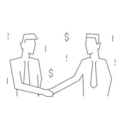 businessmen make a deal portrait view linear vector image