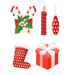 Candy and mistletoe with candle and santa socks vector