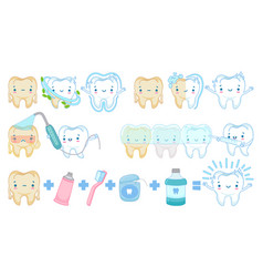 cartoon teeth whitening white clean tooth mascot vector image