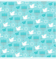 chanukah menorah and dove pattern vector image