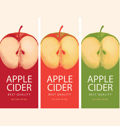 Cider labels with apple halves vector