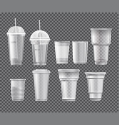 Collection plastic cups vector