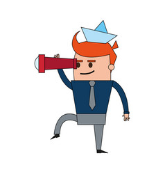 Color image full body cartoon man leader business vector