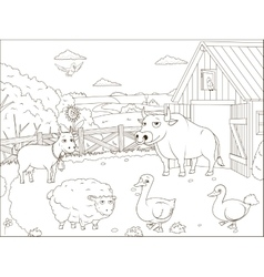 Coloring book farm cartoon educational vector