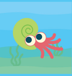 Cute ammonoid swimming of vector