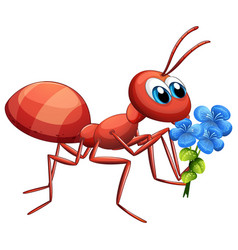 Cute ant cartoon character holding blue flower vector