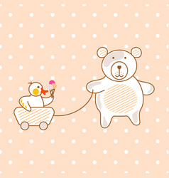 cute bear and duck friends pink vector image