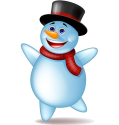 Cute Happy Snowman vector