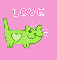 Cute heart cat cartoon character vector