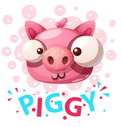 cute pig characters - cartoon vector image