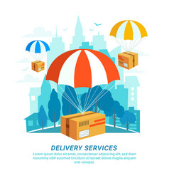 delivery service concept flat design packages vector image