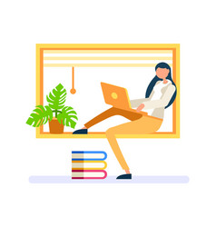 Digital person woman at home working vector