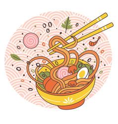 Doodle ramen noodles bowl oriental japanese vector