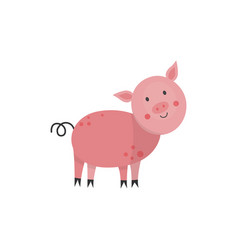 flat pink cute pig icon vector image