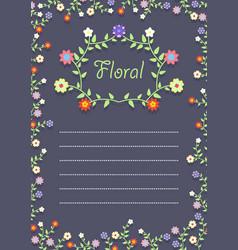 floral frame on a card vector image